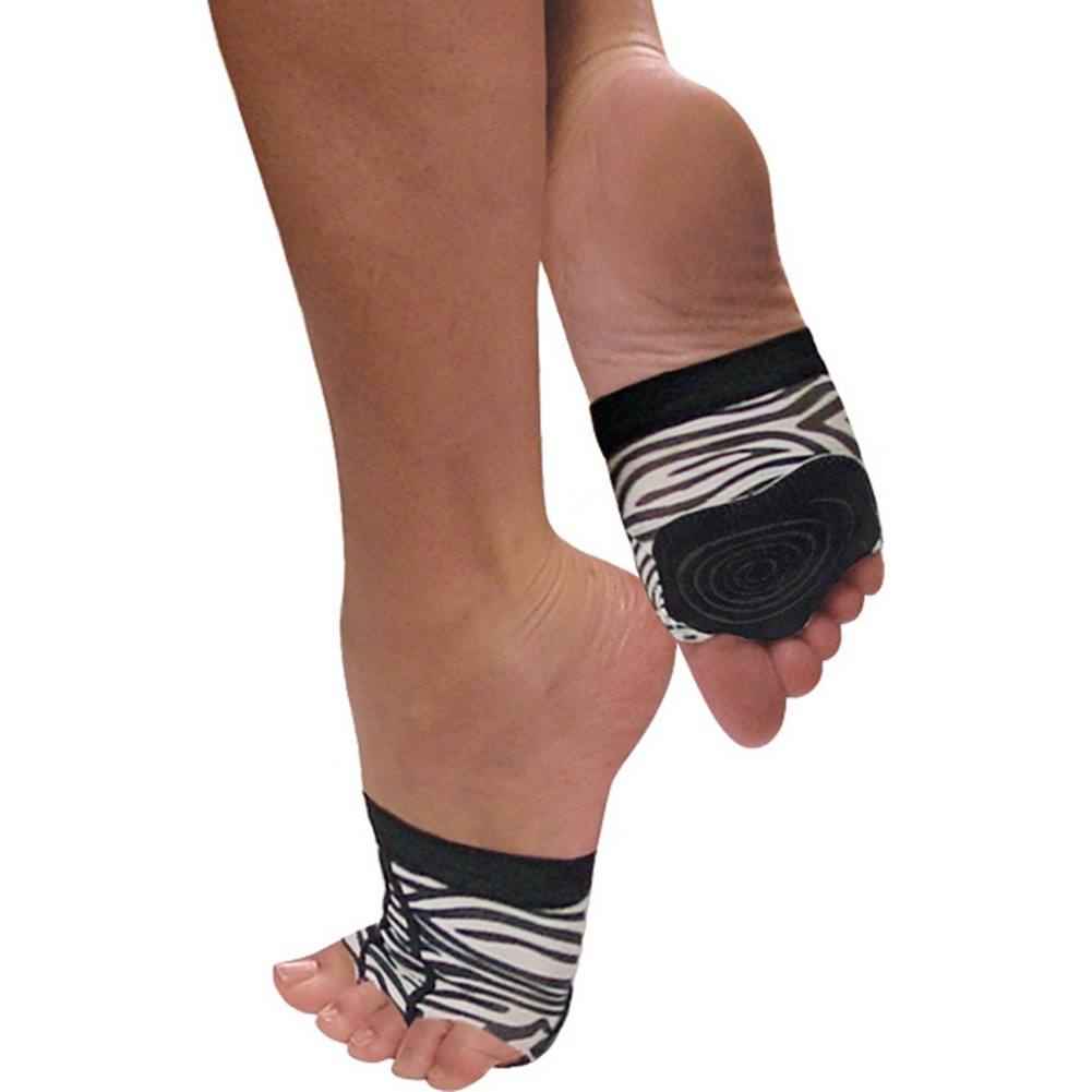 Black Zebra Stripe Half Sole Snug Non-Slip Cushioning Foot Mittens 4-14 Womens