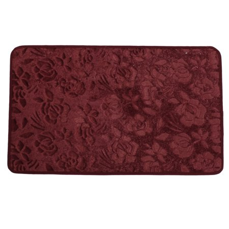 Burgundy Rose Pattern Antislip Bedroom Floor Mat Area Rug