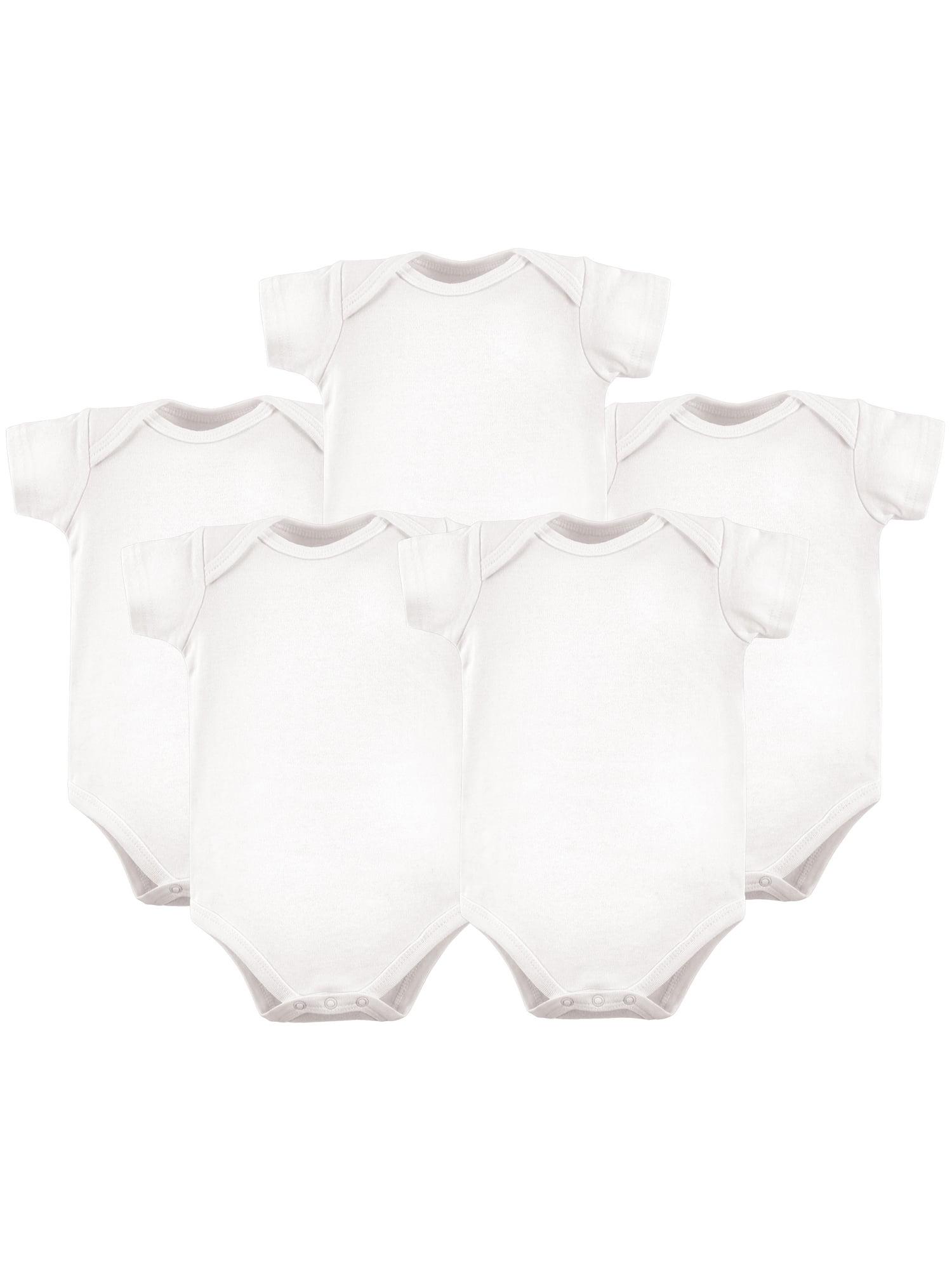 Baby Boy or Girl Unisex White Short Sleeve Bodysuits, 5-pack