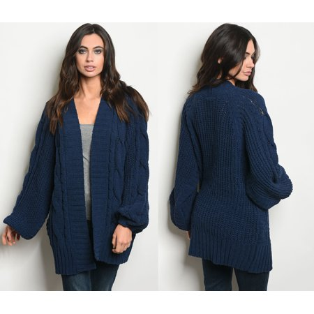JED FASHION Women's Oversized Chenille Blue Cardigan Sweater