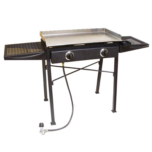 King Kooker Portable Flat Top Propane Grill with Double Burner Stove