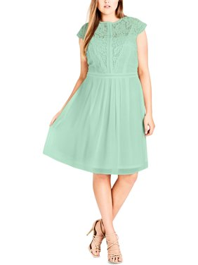 City Chic Womens Plus Lace Short Sleeves Party Dress Green XS