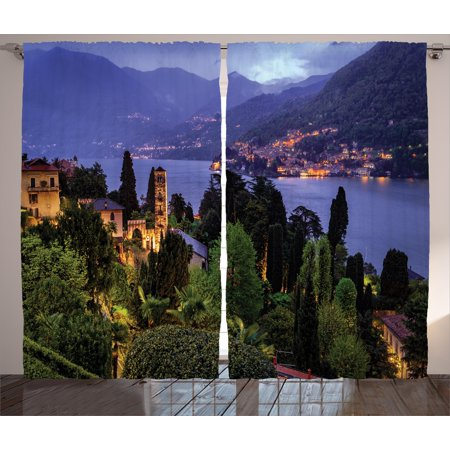 Italian Curtains 2 Panels Set, Lago Di Camo Lake Famous Coastal Village with Aerial View Picturesque Panorama, Window Drapes for Living Room Bedroom, 108W X 108L Inches, Blue Green, by Ambesonne