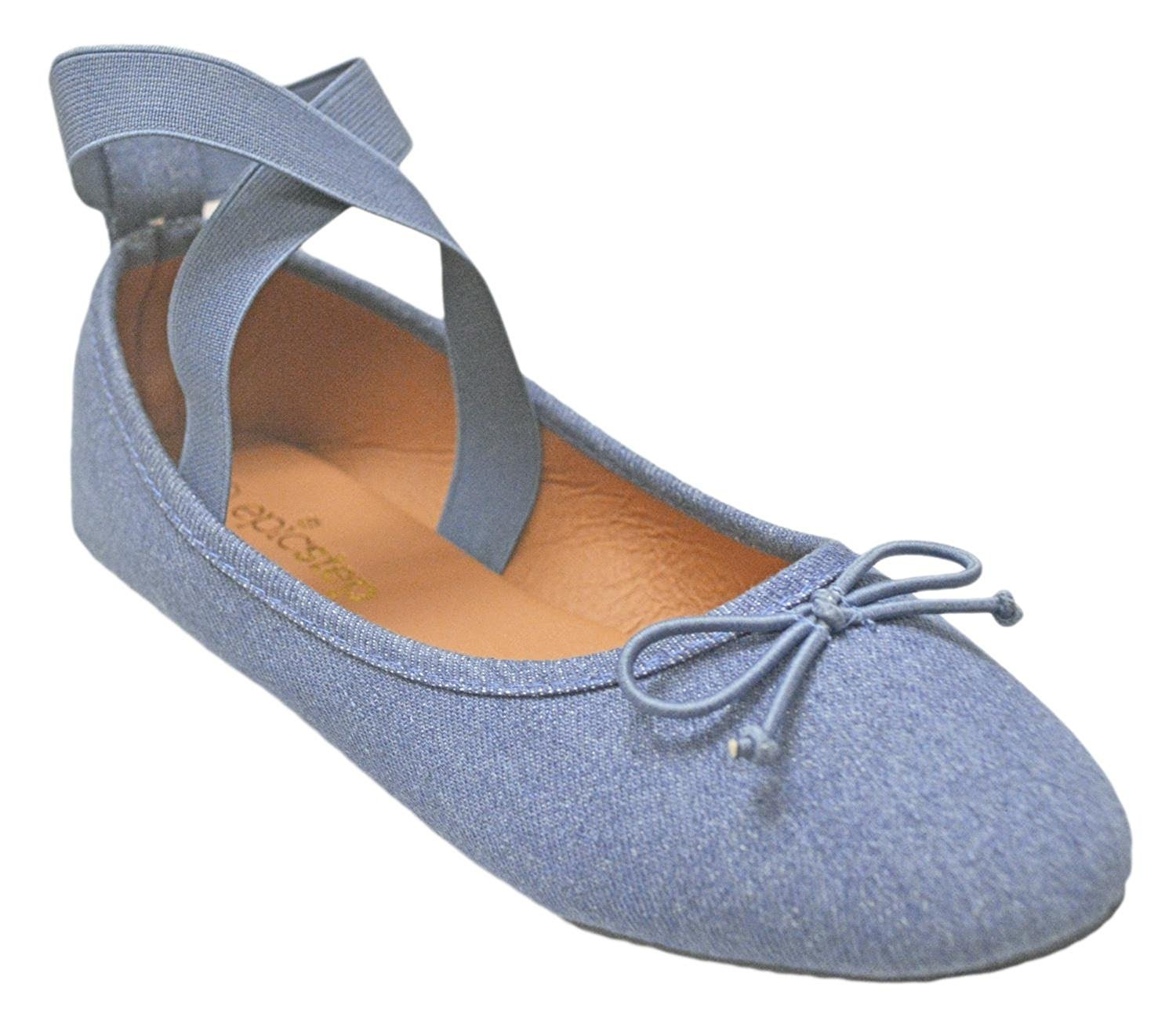 Womens Round Toe Jersey Canvas Soft and Comfortable Basic Canvas Jersey Slip On Ballet Flats Shoes With Bow 94279a