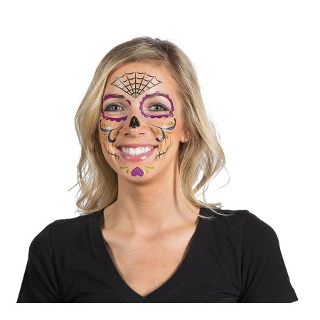 Day of the Dead Face Tattoos 9ct (Day Of The Dead Mariachi Tattoos)