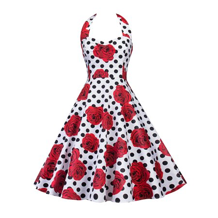 Floral Dresses for Women Vintage Print Evening Rockabilly Cocktail Party Retro Ball Gown Summer Halter Sleeveless