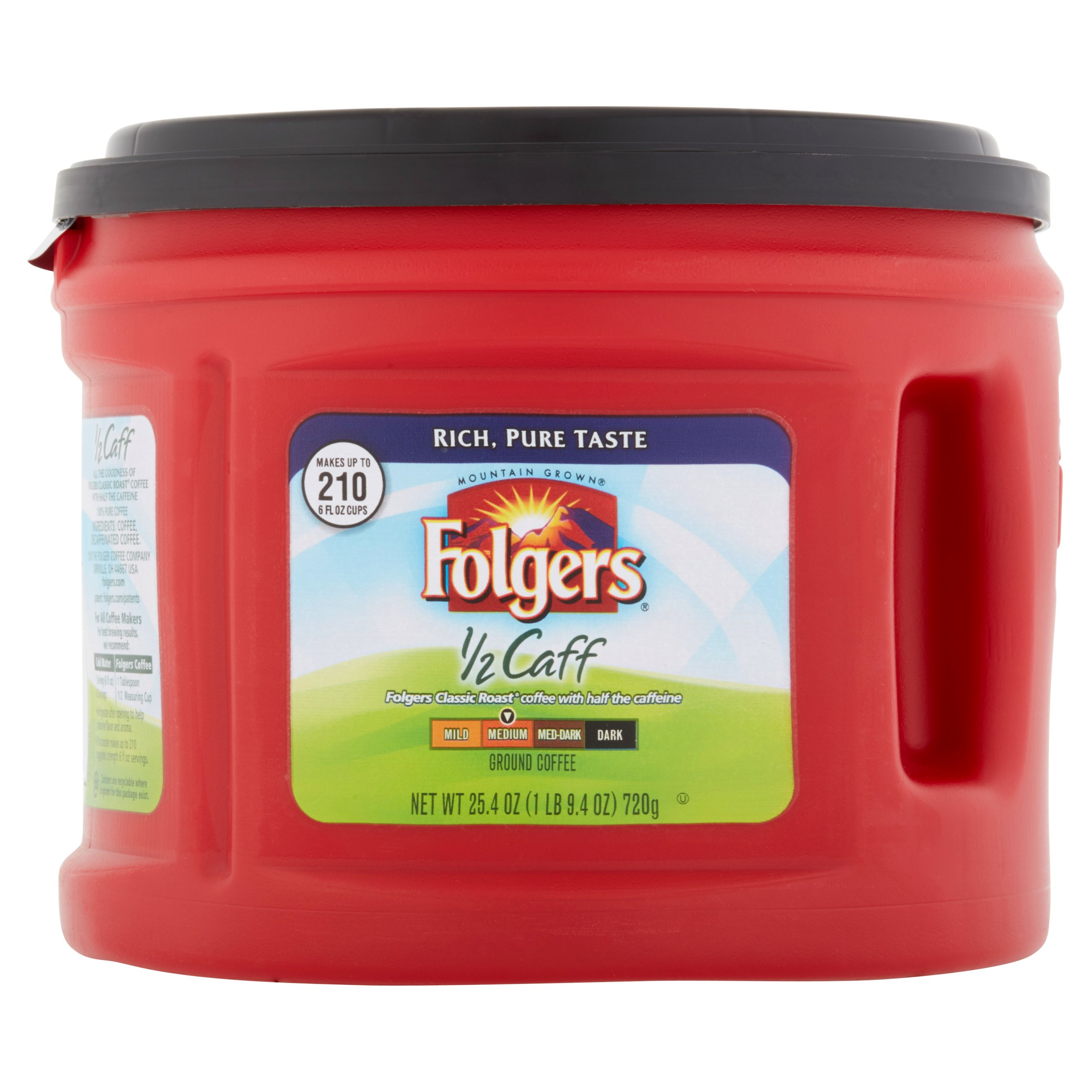 Folgers 1/2 Caff Medium Roast Ground Coffee, 25.4 oz