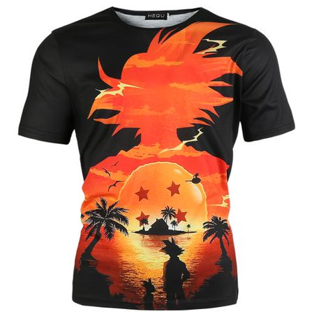 TURNTABLE LAB Men Print T-Shirt Goku Sunset Print Short Sleeve T Shirt Goku Graphic Printed Top Anime Z Dragon Ball 3D Print Tee