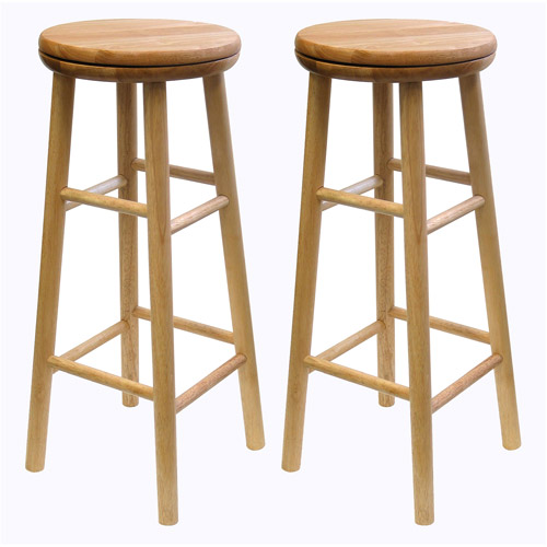 "Wood Swivel Seat, Bar Stool, 30"", Set of 2, Beechwood"
