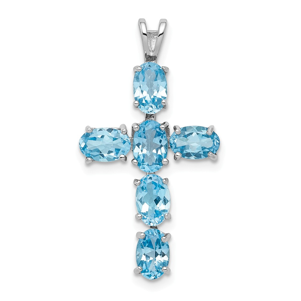 Sterling Silver 1.66ct Rhodium Plated Light Swiss Blue Topaz Cross Pendant