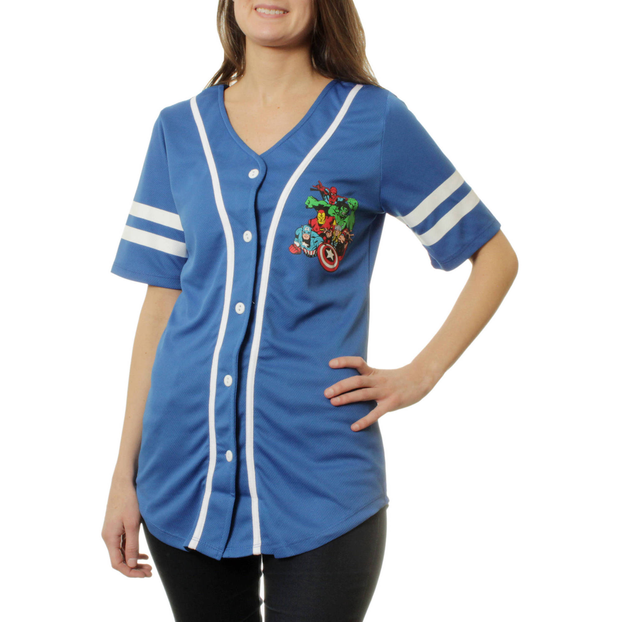 Marvel Juniors Graphic Button Front Athletic Mesh Baseball Shirt