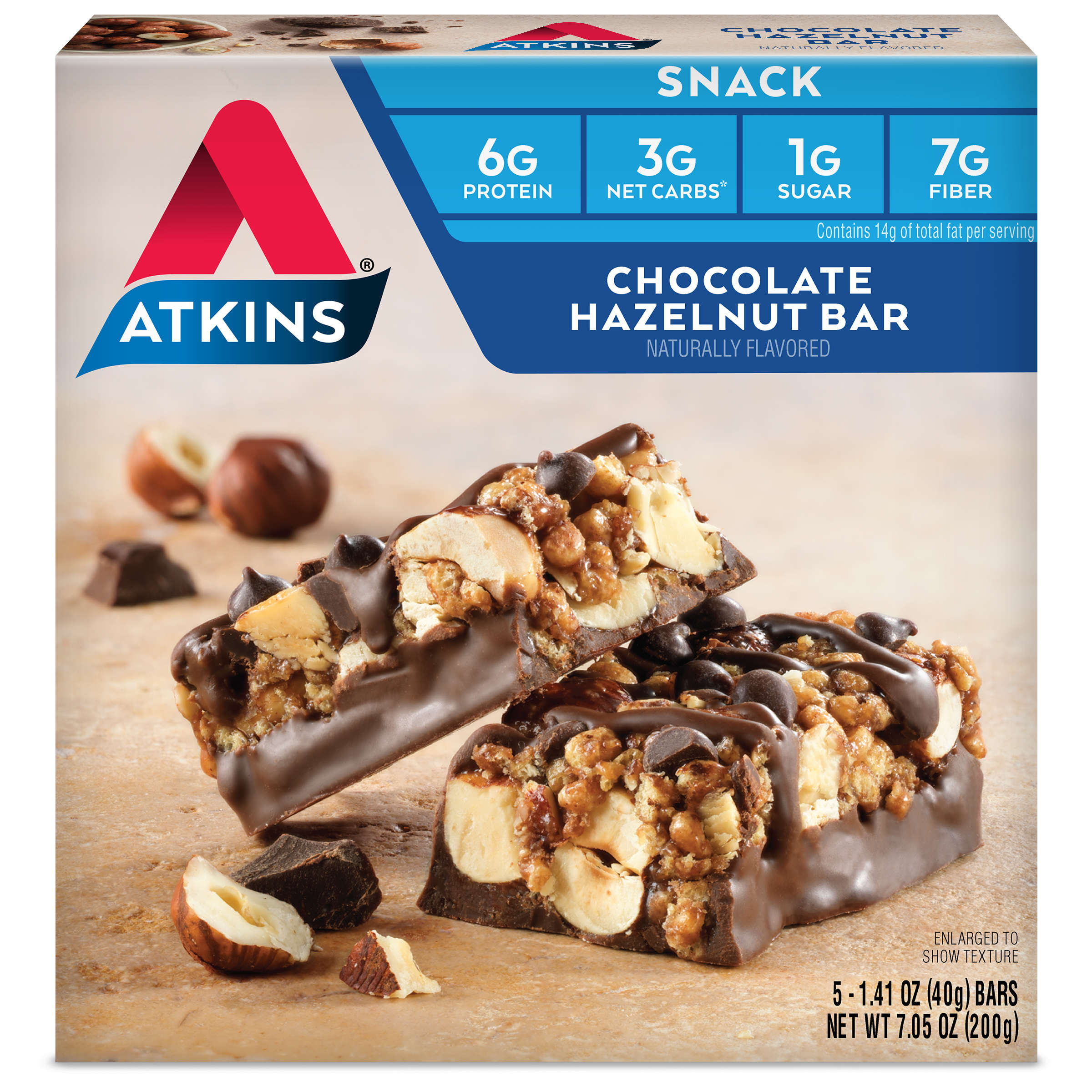 Atkins Chocolate Hazelnut Bar, 1.4oz, 5-pack (Snack)