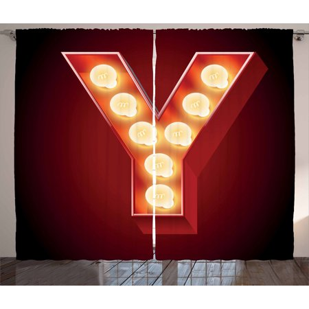 Letter Y Curtains 2 Panels Set  Casino Nightclub Inspired Alphabet Typography Entertainment Retro Y  Window Drapes For Living Room Bedroom  108W X 84L Inches  Vermilion Yellow Black  By Ambesonne