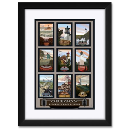 Oregon Lighthouse Collage Framed & Matted Art Print by Mike Rangner. Print Size: 12