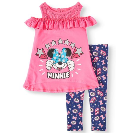 Minnie Mouse Cold Shoulder with Lace Yoke, And Printed Legging, 2-Piece Outfit Set (Little Girls)](Minnie Mouse Adult Outfit)
