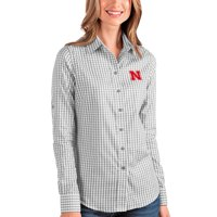 Nebraska Cornhuskers Antigua Women's Structure Button-Up Shirt - Gray/White