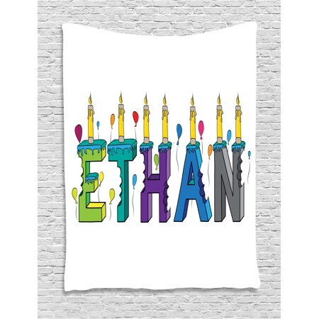Ethan Tapestry, Celebration Themed Candles and Bitten Cake Popular Male Name Birthday Party Image, Wall Hanging for Bedroom Living Room Dorm Decor, 40W X 60L Inches, Multicolor, by Ambesonne