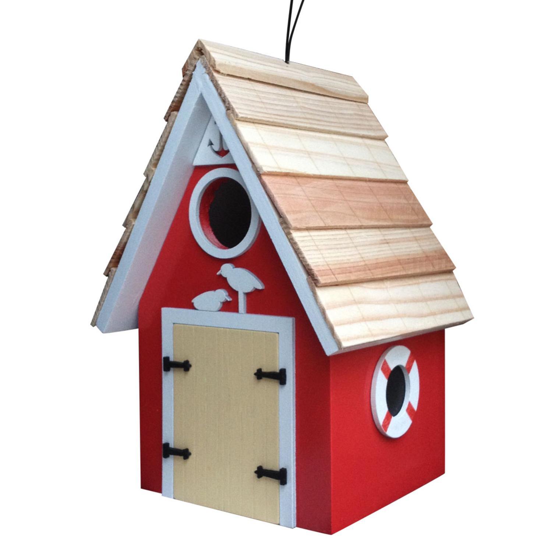 "8.25"" Fully Functional Vibrant Red Dockside Cabin Outdoor Garden Birdhouse"