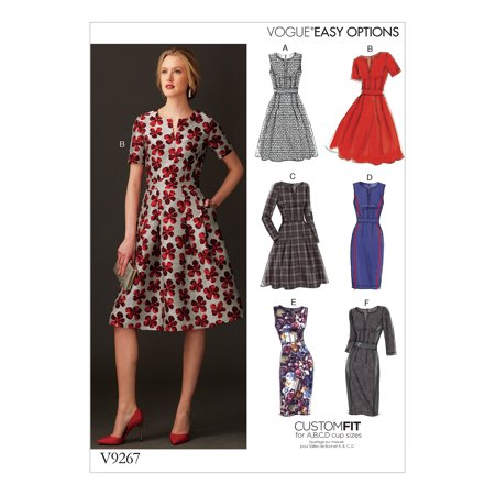 Vogue Patterns Sewing Pattern MISSES' FIT-AND-FLARE DRESSES WITH WAISTBAND AND POCKETS-14-16-18-20-22 (Morticia Dress Pattern)