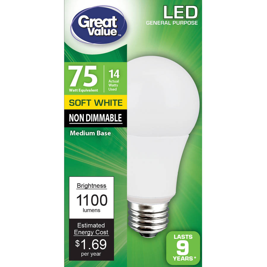 Great Value LED Light Bulb, 14W (75W Equivalent), Soft White