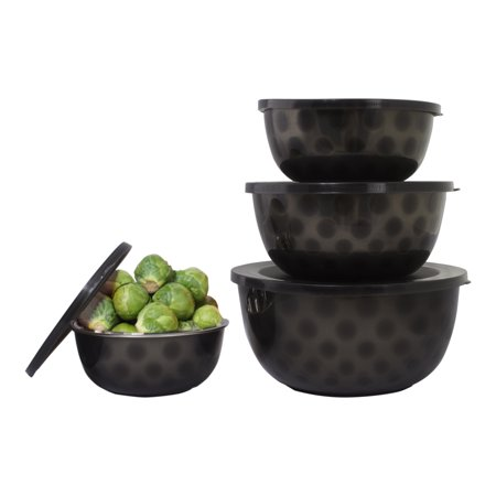 Microware Safe Stainless Steel Mixing Serving Bowl Set - 4 Mixing Bowls With Lid - Black