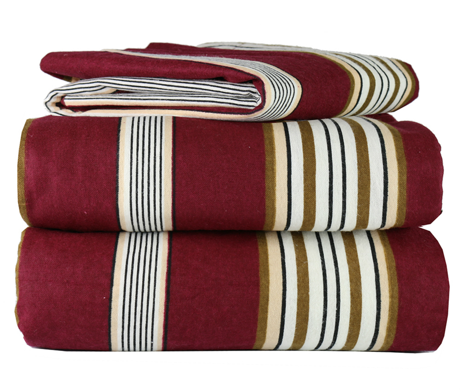 4 Piece 100 Soft Flannel Cotton Bed Sheet Set Queen King Size Patterned Bedding Covers 1 Flat Sheet 1 Fitted Sheet 2 Pillow Cases Fade Resistant Designs Burgundy Stripe King Walmart Com Walmart Com