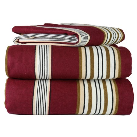 4 Piece 100% Soft Flannel Cotton Bed Sheet Set – Queen/King Size – Patterned Bedding Covers – 1 Flat Sheet, 1 Fitted Sheet, 2 Pillow Cases - Fade Resistant Designs, (Burgundy Stripe, king)
