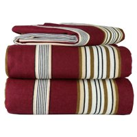 4 Piece 100% Soft Flannel Cotton Bed Sheet Set  Queen/King Size  Patterned Bedding Covers  1 Flat Sheet, 1 Fitted Sheet, 2 Pillow Cases - Fade Resistant Designs, (Burgundy Stripe, king)