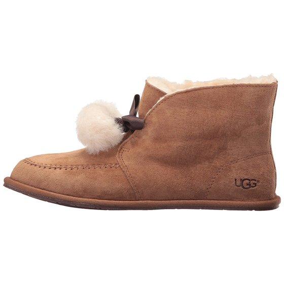 8c8c2a58585 UGG Kallen Women's Shoes Suede Moc Toe Pom Pom Slipper 1017541 Chestnut