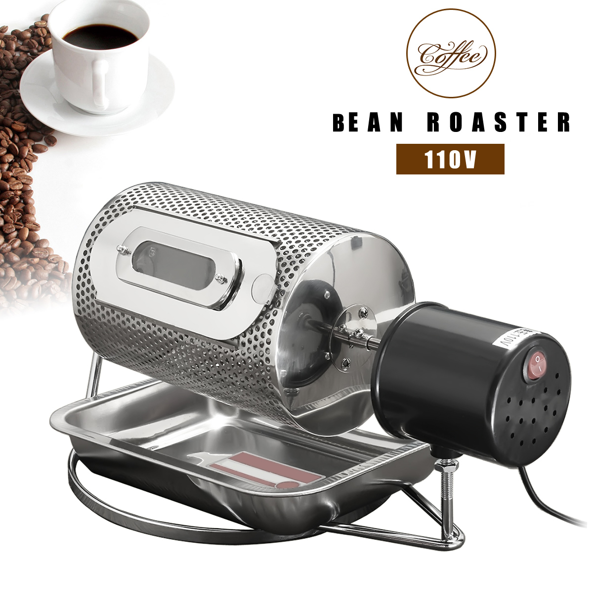 Stainless Steel Electric Coffee Bean Roaster Machine Roasting With Tray 110V
