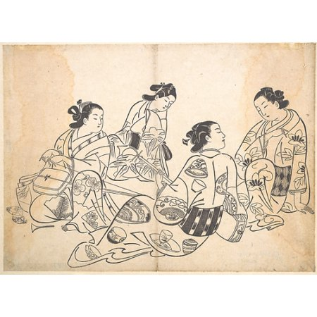 "Group of Four Women Poster Print by Okumura Masanobu (Japanese 1686  ""1764) (18 x 24)"