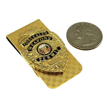 Money Clip Gold CWP CCW With Concealed Weapons Carry Permit Mini Badge