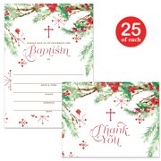 """Baptism Invitations ( 25 ) & Matched Thank You Notes ( 25 ) Set with Envelopes, Christmas Winter Season 5 x 7"""" Fill-in Invites & Folded Thank You Cards, Infant Baby Christening VS0100S"""