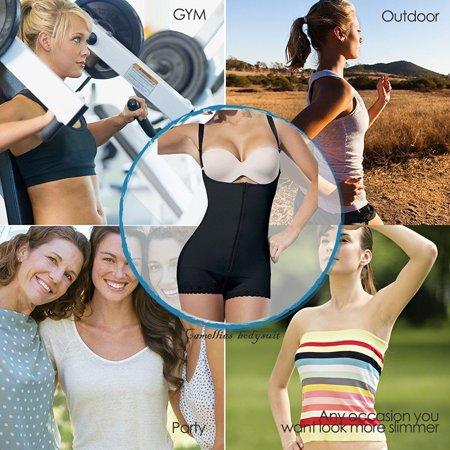 a071f14f9f4 Camellias Women s Body Shaper Seamless Latex Tummy Control Shapewear Zipper  Closure Open Bust Slimmer Belly Bodysuit