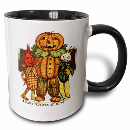 3dRose Halloween Vegetable Characters - Two Tone Black Mug, 11-ounce](Vegetable Ideas For Halloween)