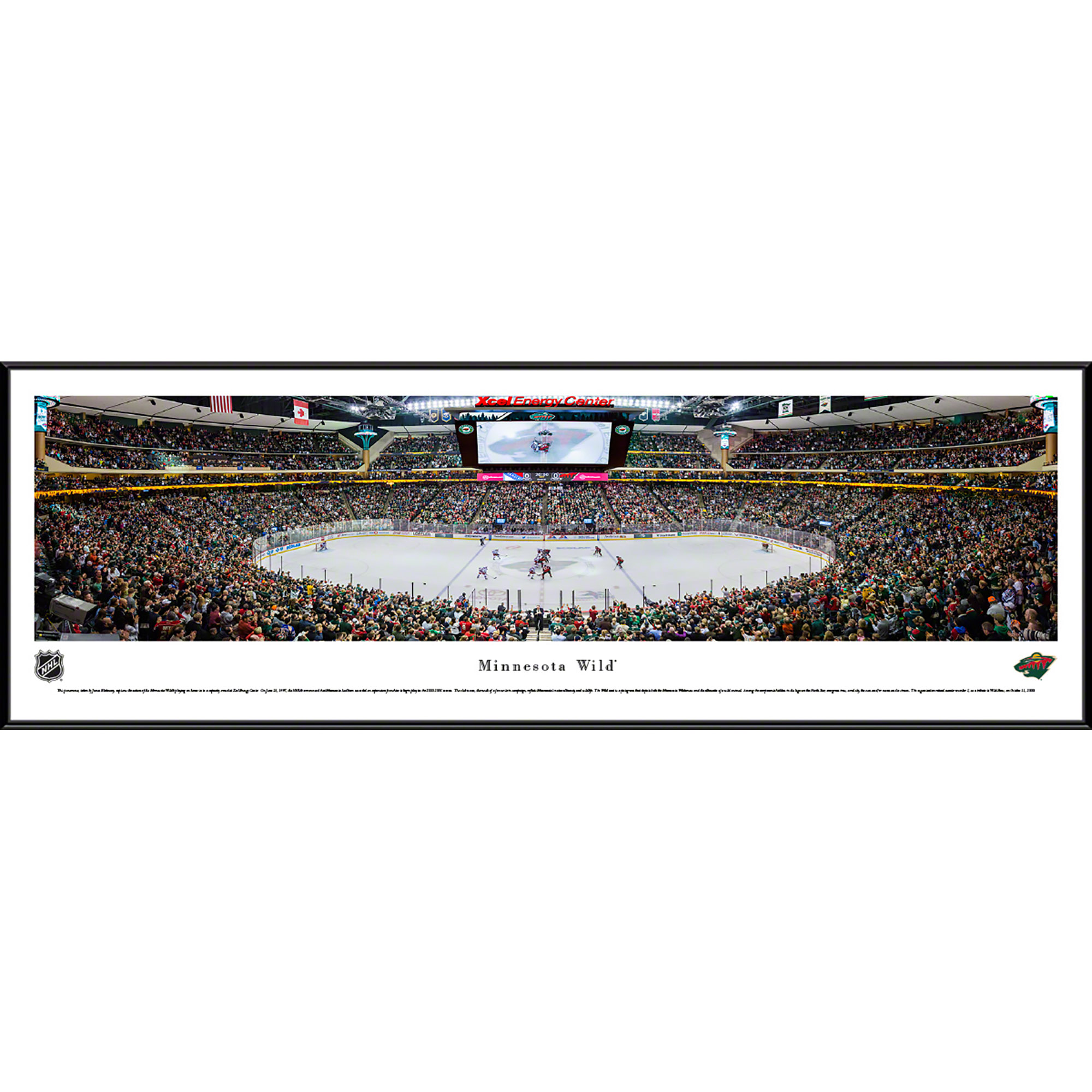Minnesota Wild - Center Ice at Xcel Energy Center - Blakeway Panoramas NHL Print with Standard Frame