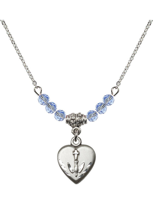 Bonyak Jewelry 18 Inch Rhodium Plated Necklace w// 4mm Jet Birth Month Stone Beads and Confirmation Heart Charm