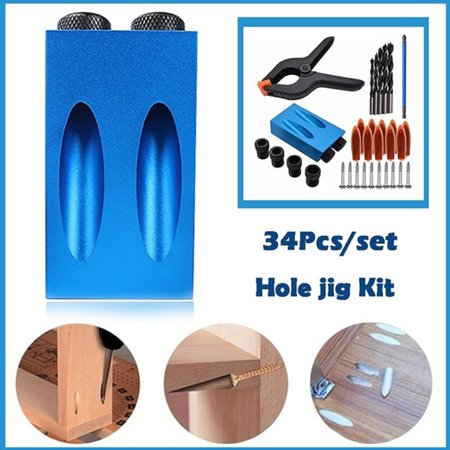 Blue Aluminum Pocket Hole Joining Jig Kit With Step Drilling Bit Woodworking Cutter (Best Drill For Aluminum)