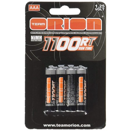 1100mAh AAA 1.25V NiMH(4) Battery, 1.25V 1100mAh NiMH AAA Batteries (4) By Team Orion,USA Overview 1100RT AAA 1100mAh Ni-MH rechargeable batteries are great for powering up the Kyosho Mini-Z. In fact, any device that requires AAA cells will benefit from the use of  AAA batteries.
