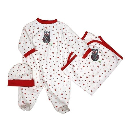 Owl Baby (Raindrops Unisex Baby Red Owl Footie Receiving Blanket Cap Set)
