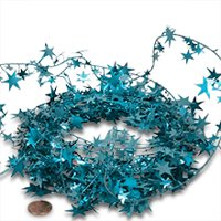 Turquoise Large Star Garland Christmas | Length - 24 1/2 ft. by Paper Mart