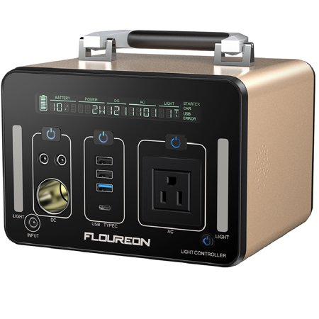 Floureon Portable Power Station 500Wh Quiet Gas Free Solar Generator QC3.0 UPS Li-Power Supply with Dual 110V AC Outlet, 3 DC Ports, 2 USB Ports, LED Flashlights for Camping Travel CPAP Emergency