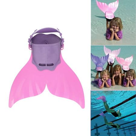 Kids Child Mermaid Swim Fin Flipper Swimming Training Mermaid Performance Toy Pink