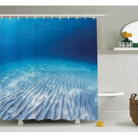 Ids Infinite Divider - Shower Curtain Set, Underwater Shot of An Infinite Sandy Sea Bottom with Clear Water and Waves on Its Surface, Bathroom Decor,  Navy Beige, by Ambesonne