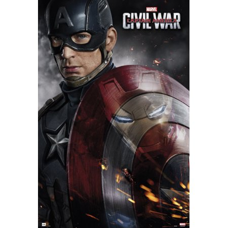 Captain America 3: Civil War - Marvel Movie Poster / Print (Captain America - Solo With Shield) (Size: 24