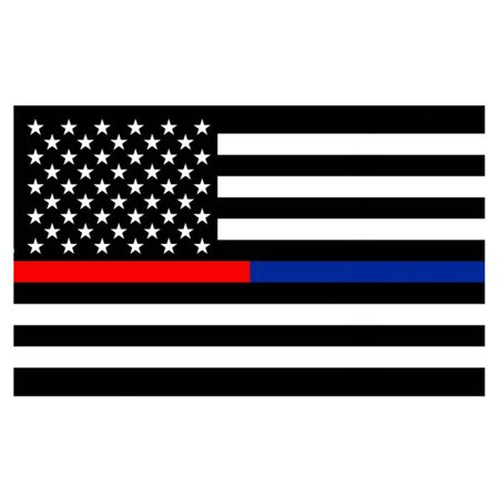 First Responders American Flag 3x5 ft Thin Blue & Red Line Black & White (American Flag Black And White Blue Stripe Meaning)