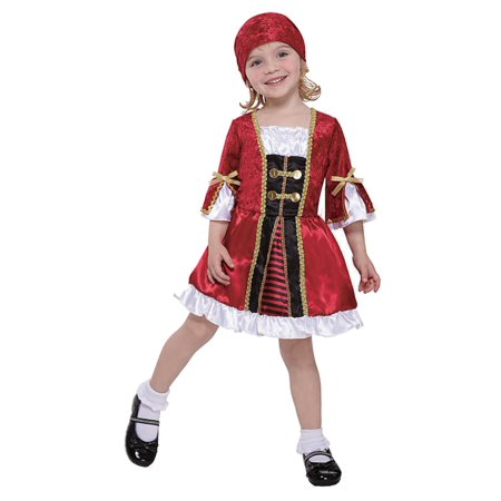 Totally Ghoul Girls Precious Lil Captain Costume with Dress & Bandanna Small (Precious Li'l Panda Costumes)