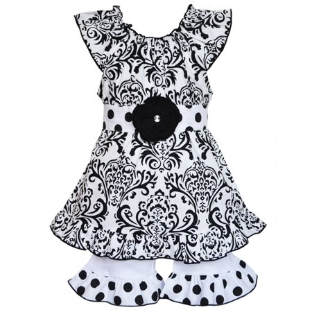 AnnLoren Girls Boutique Black & White Damask Tunic & Shorts Clothing Set - Girl Clothing Boutique