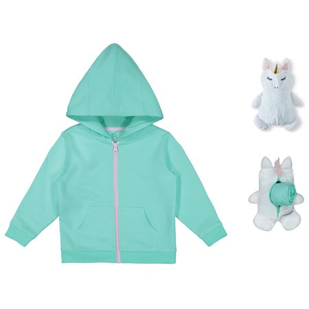 Wonder Nation Packable Plush Critter Zip Up Hoodie (Toddler Girls)