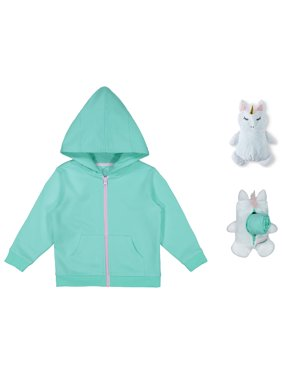 cb1b1dc6a26dc2 Product Image Wonder Nation Packable Plush Critter Zip Up Hoodie (Toddler  Girls)